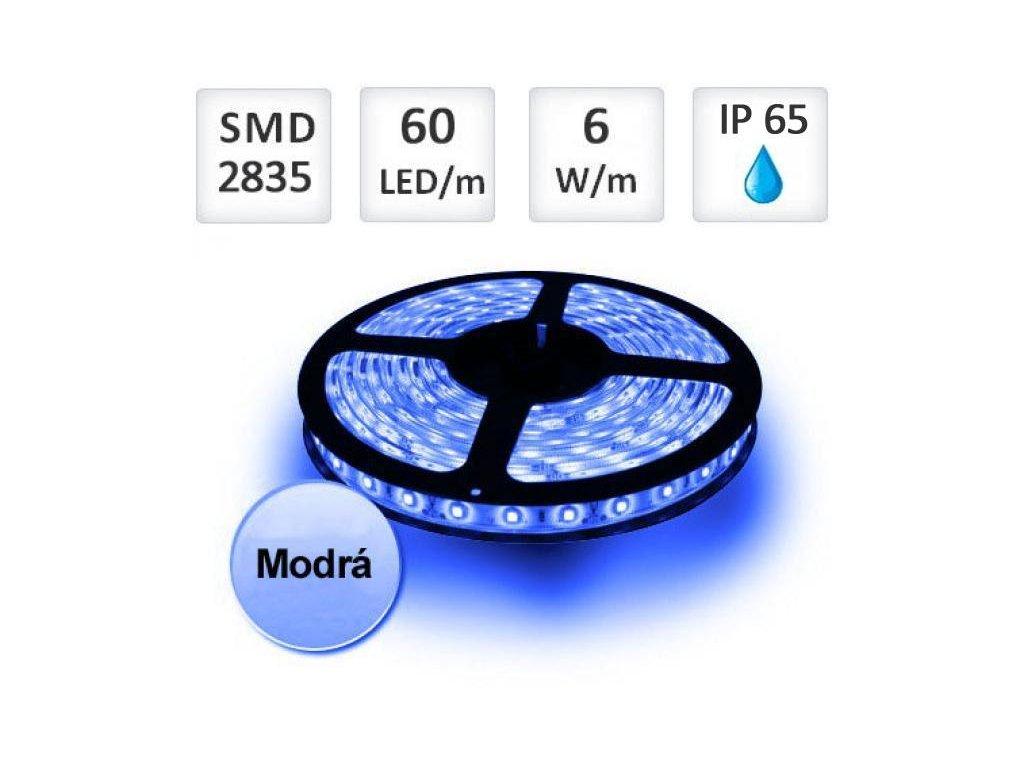 PremiumLED LED pásek 1m, modrý, 60xSMD2835, 6W/m, Voděodolný