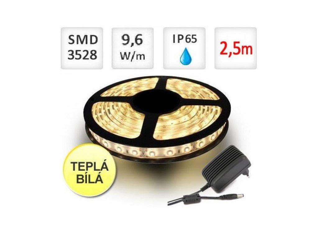 Berge LED pásek 2,5m sada, 9,6W, 120x3528/m, voděodolný, teplá + Zdroj - BRG30014-2m