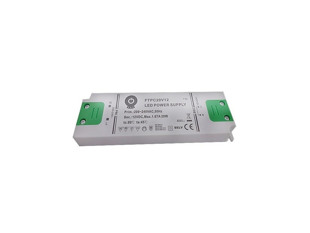 Nábytkový LED napájecí zdroj FTPC20V12 20W 1,6A 12V