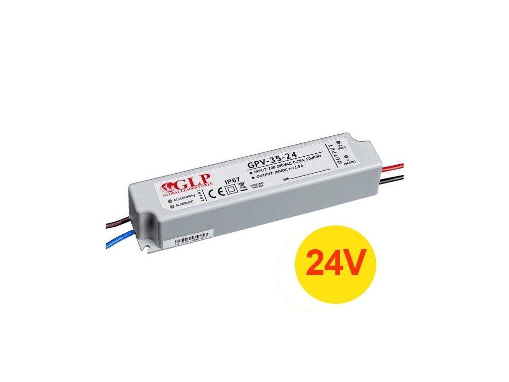 Napájecí zdroj 35W 1,45A 24V DC, voděodolný / venkovní, Global Leader Power