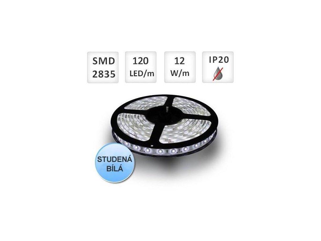 PremiumLED LED pásek 1m, 120ks, 2835, 12W/m, Studená