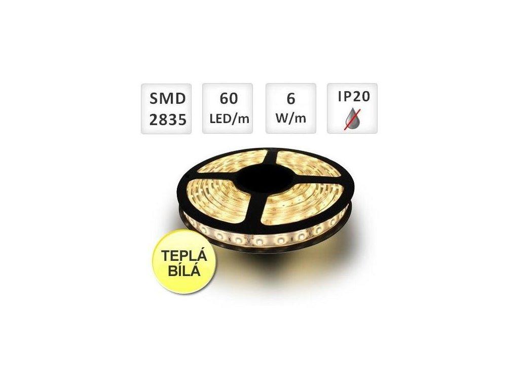 PremiumLED LED pásek 1m, 60ks, 2835, 6W/m, Teplá