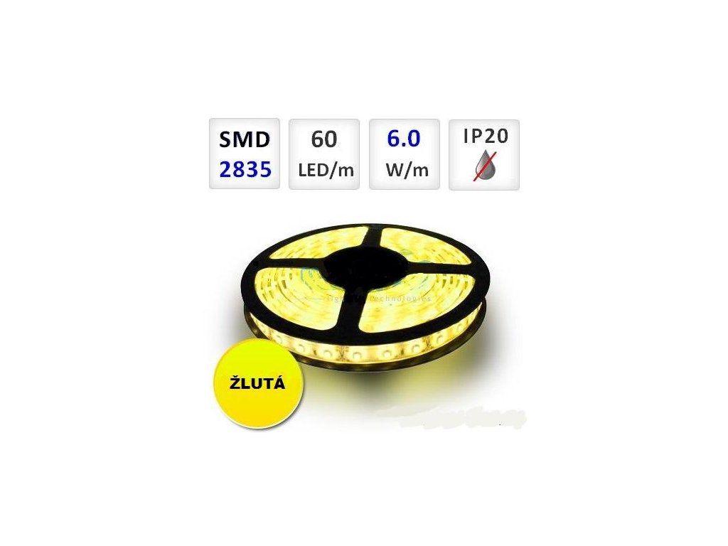 PremiumLED LED pásek 1m, žlutý, 60xSMD2835m, 6W/m
