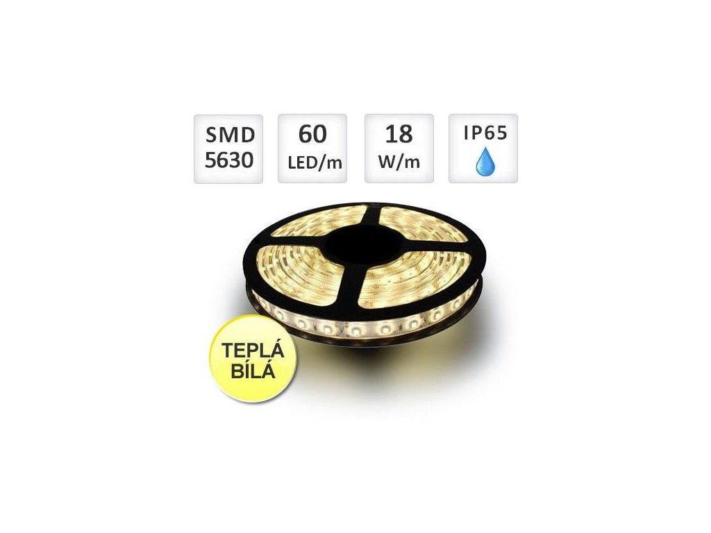Berge LED pásek 5m, Profi 60LED/m, 5630, 18W/m, teplá, silikon