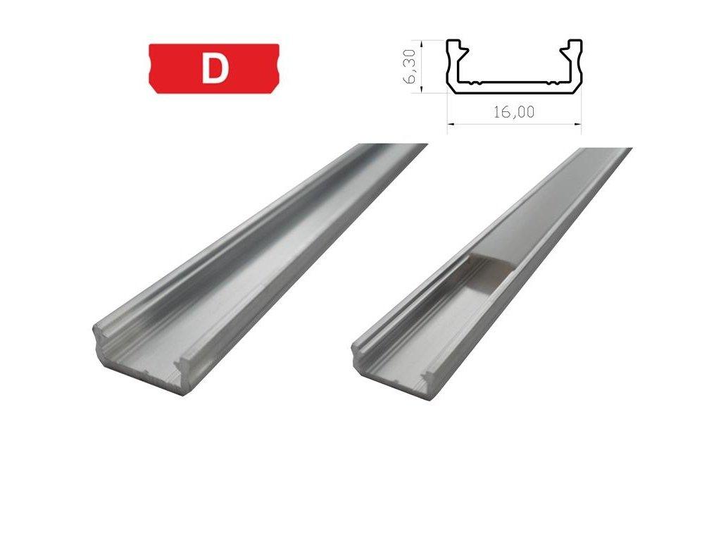LEDLabs Hliníkový profil LUMINES D 1m pro LED pásky, hliník