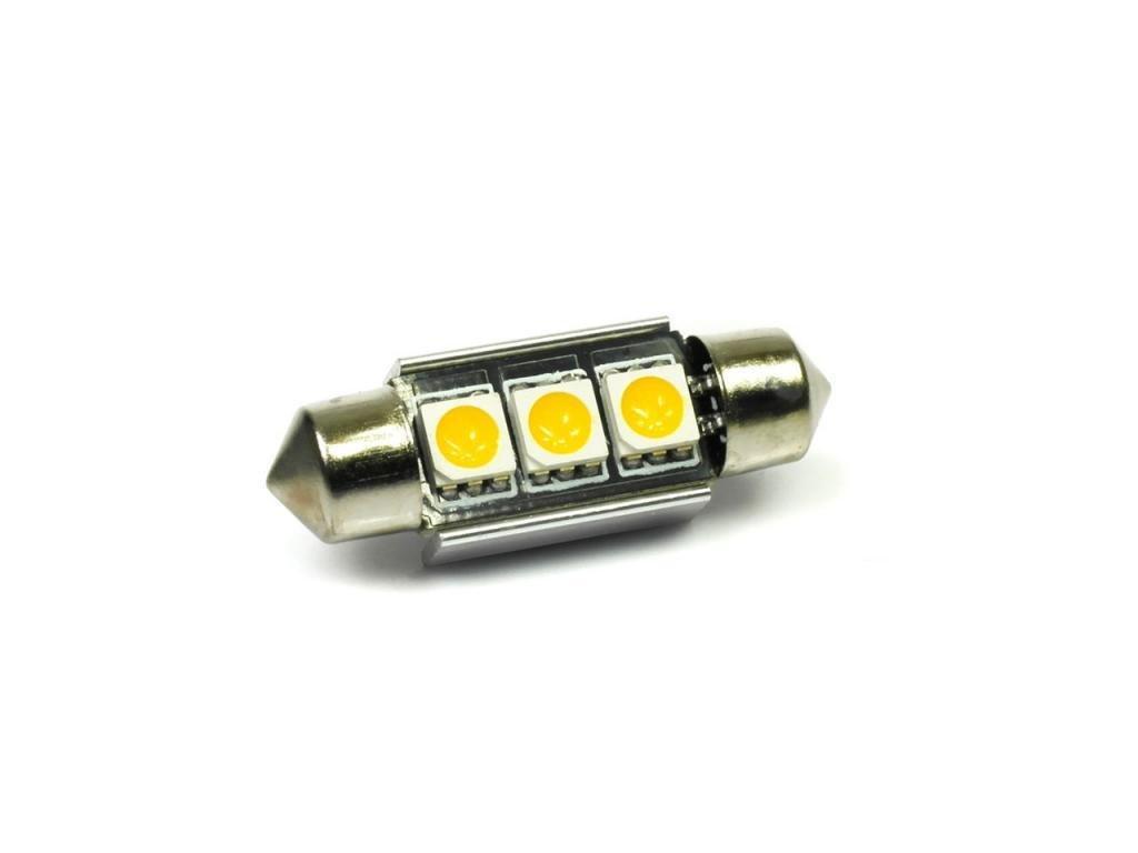 LED autožárovka LED C5W 3 SMD 5050 CAN BUS 39mm TEPLÁ
