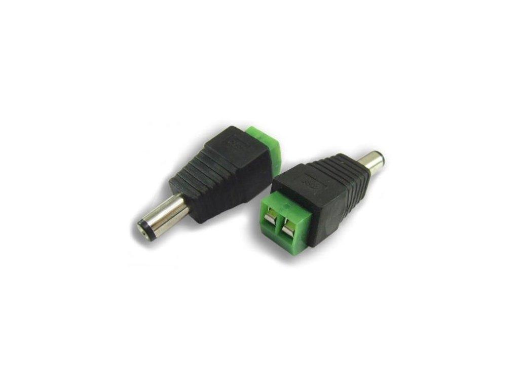 Konektor napájecí DC 2,1/5,5mm se svorkovnicí, samec