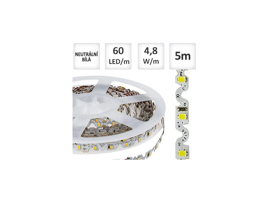 LED pásek 5m 60ks/m 3528 4.8W/m TWIST - ohebný, Neutrální