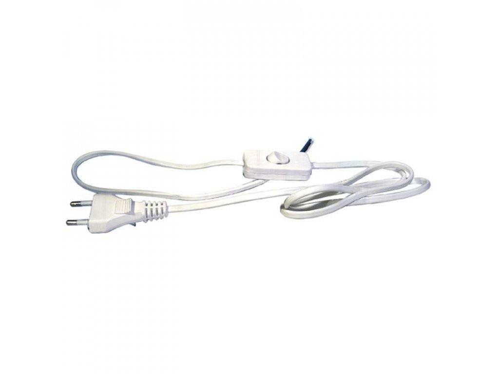 Flexo šňůra PVC 2x0,75 mm, 3m bílá s vypínačem