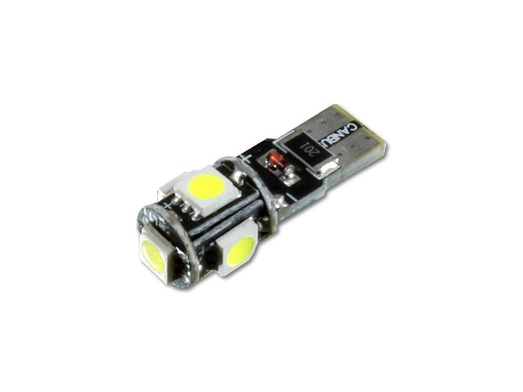 LED autožárovka LED T10 W5W 5 SMD 5050 CAN BUS
