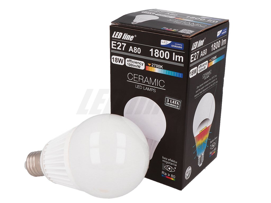 eng pl LED line R lamp E27 CSP 170 265V 18W 1800LM 2700K A80 1672 1[1]