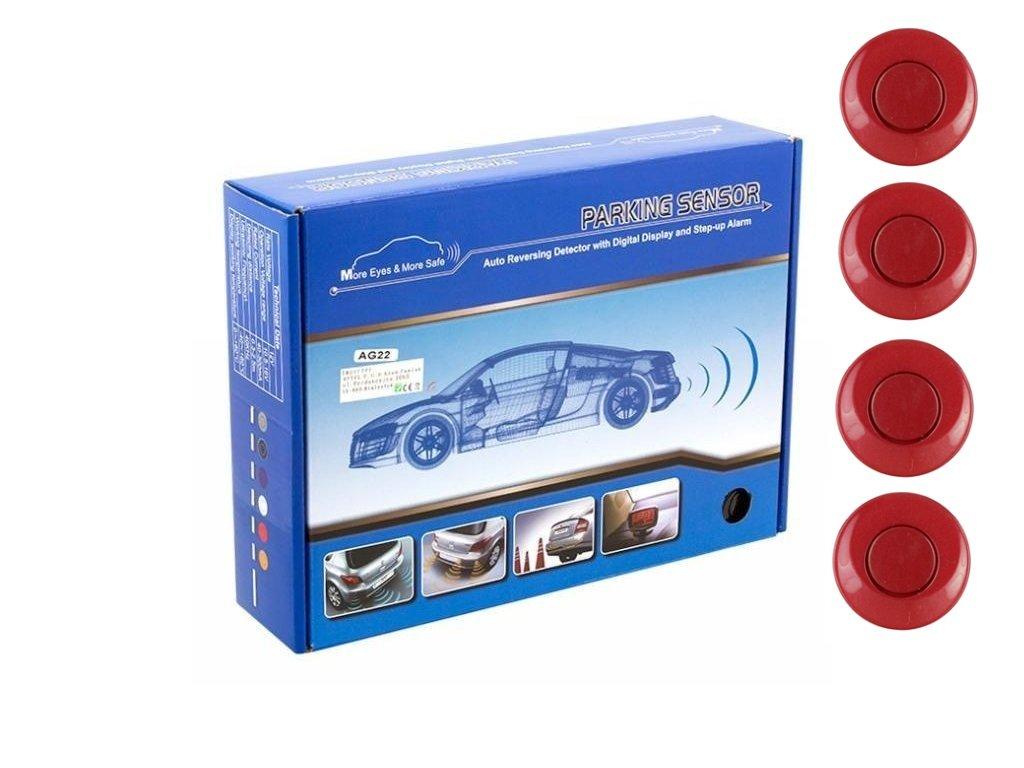 Parkovací systém 4 senzorový - zvuková signalizace i LED panel,  Ø25mm, červený
