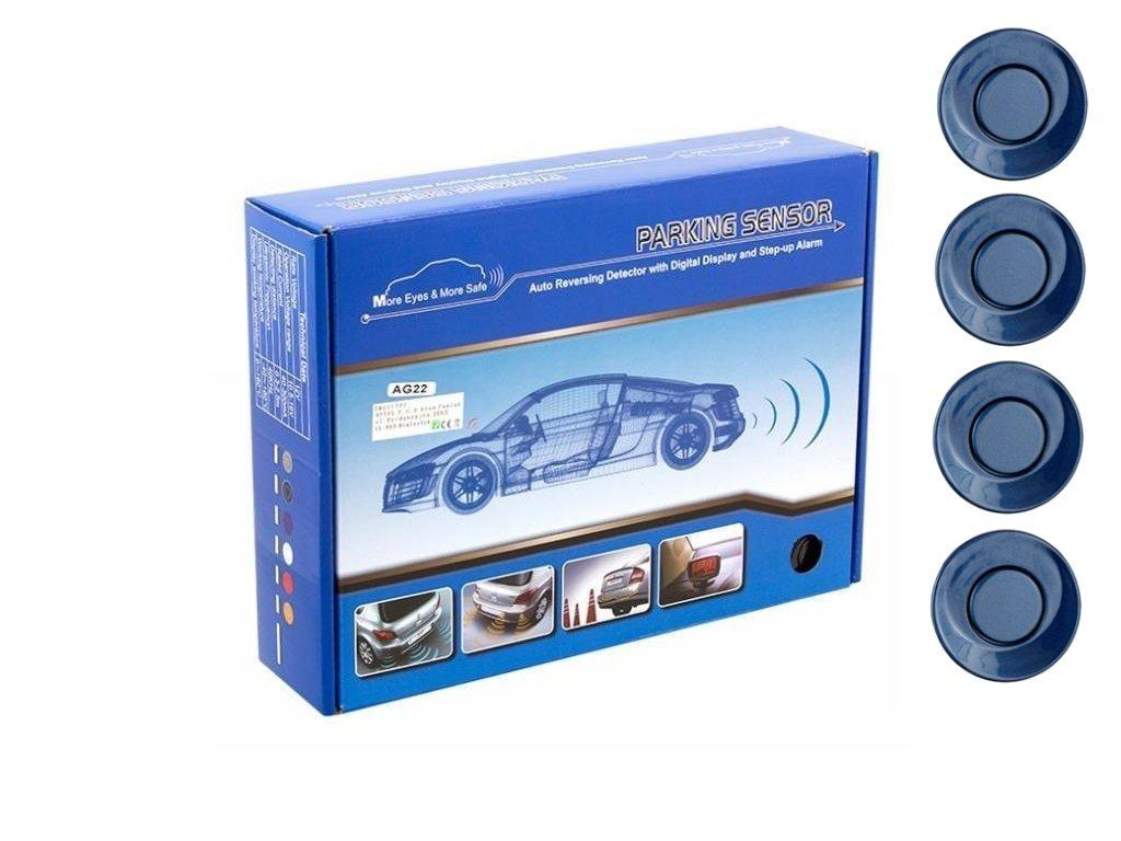 Parkovací systém 4 senzorový - zvuková signalizace i LED panel,  O25mm, modrý