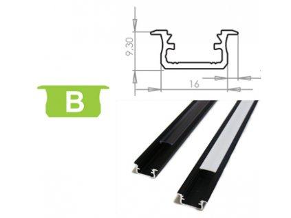 Hliníkový profil LUMINES B zápustný 1m pro LED pásky, černý