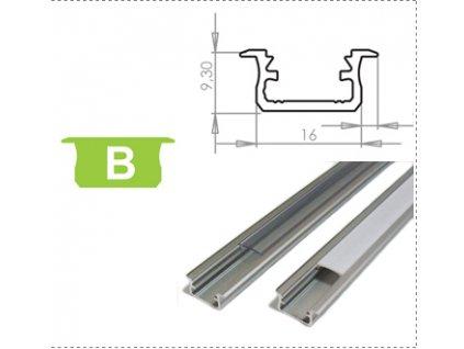Hliníkový profil LUMINES B zápustný 1m pro LED pásky, hliník