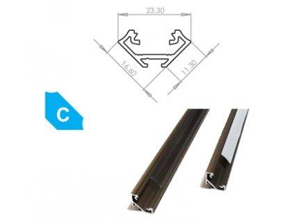 Hliníkový profil LUMINES C 1m pro LED pásky, eloxovaný inox