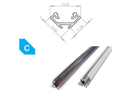 Hliníkový profil LUMINES C 1m pro LED pásky, hliník