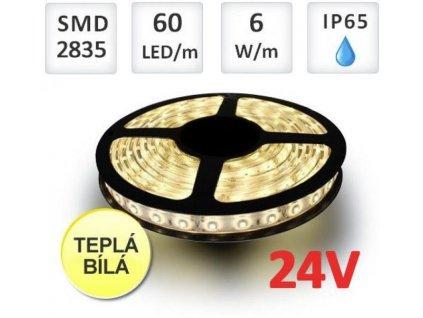 Berge LED pásek 5m, 24V, 60ks, 2835, 10,8W/m, silikon, Teplá