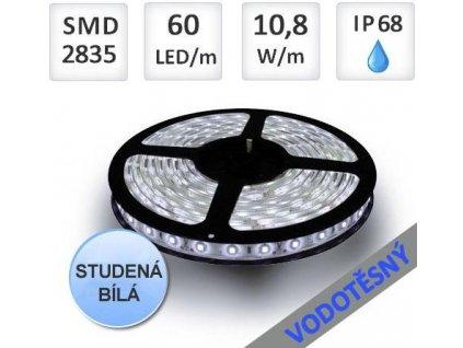 Berge LED pásek 5m 60ks 2835 10,8W/m IP68 vodotěsný,Studená