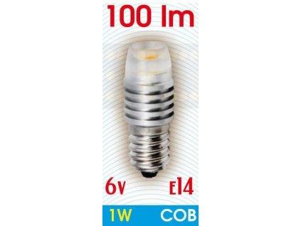 Ledom LED žárovka 1W COB E14 6V 100lm Studená bílá