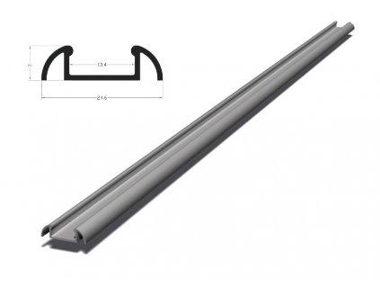 Berge Hliníkový profil BRG-2 1m pro LED pásky, stříbrný eloxovaný