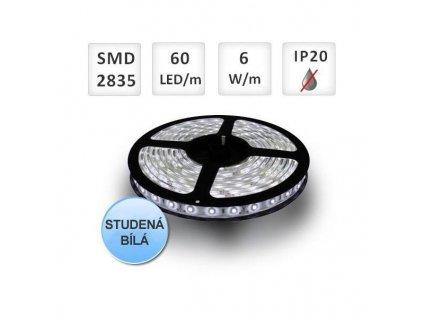 PremiumLED LED pásek 1m, 60ks, 2835, 6W/m, Studená