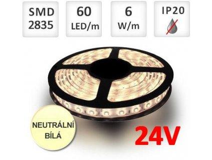 PremiumLED LED pásek 24V 60ks 2835 6W/m Neutrální