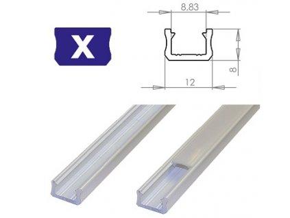 LEDLabs Hliníkový profil LUMINES X 1m pro LED pásky, bílý