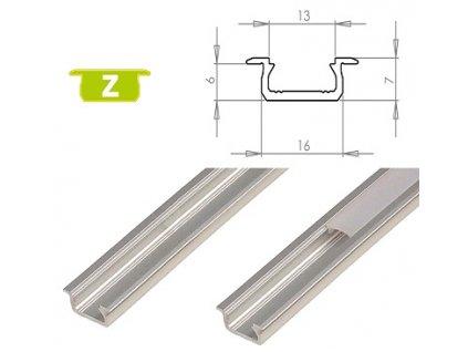 LEDLabs Hliníkový profil LUMINES Z zápustný 1m pro LED pásky, hliník