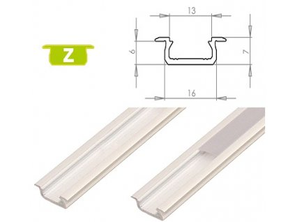 LEDLabs Hliníkový profil LUMINES Z zápustný 1m pro LED pásky, bílý lakovaný