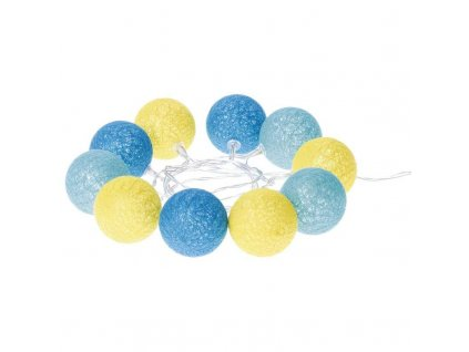 LED girlanda - koule bavlněné, léto, 2xAA, Teplá bílá, časovač