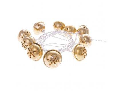 LED girlanda - zlaté rolničky, 2xAA, Teplá bílá, časovač