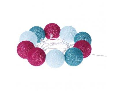 LED girlanda - koule bavlněné, jaro, 2xAA, Teplá bílá, časovač