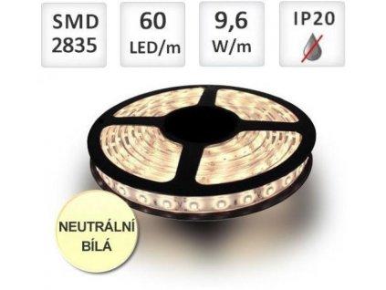 LED pásek 5m 60ks/m 2835 12W/m, Neutrální