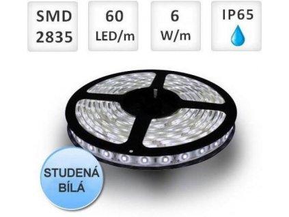 LED pásek 60ks 2835 6W/m, voděodolný, Studená