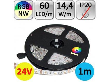 LED pásek RGB+NW neutrální bílá 1m 14,4W/m 60LED/m 24V