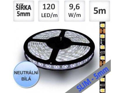 LED pásek 5m 120ks/m 3528 9.6W/m ULTRA SLIM, černý podklad, Neutrální bílá