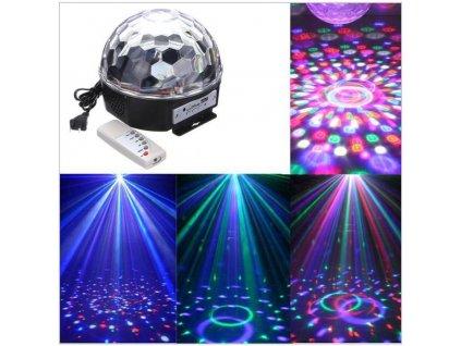 LED Lampička - projektor DISCO koule s ovladačem, MP3 přehrávač, USB i SD