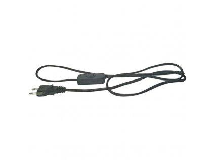 Flexo šňůra PVC 2x0,75 mm, 3m černá s vypínačem