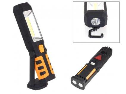 AG121C LED svítilna plastová pracovní, 3W COB LED + 1x LED, nabíjecí