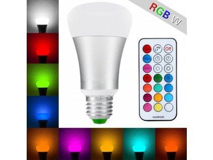 RGBW LED žárovka 10W E27 550lm s ovladačem Teplá