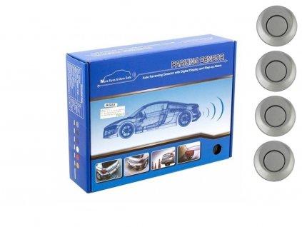 Parkovací systém 4 senzorový - zvuková signalizace i LED panel,  O25mm, stříbrný