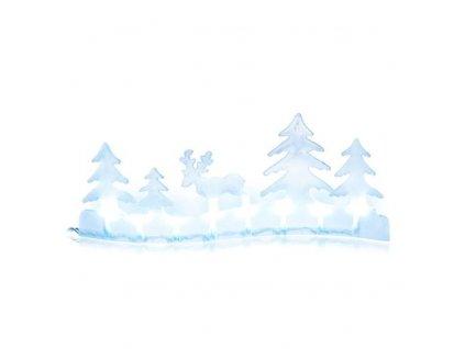 LED21 Vánoční dekorace krajina sob 8 LED, 2×AA, studená bílá, časovač
