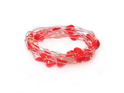 LED21 Řetěz vánoční 30 LED, 3m, 3xAA, srdíčka, červená