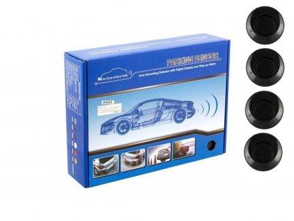 Parkovací systém 4 senzorový - zvuková signalizace i LED panel, Ø25mm, černý AG22