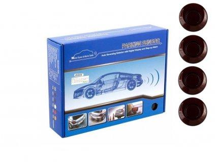 Parkovací systém 4 senzorový - zvuková signalizace i LED panel,  O25mm, tmavě červený