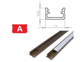 Hliníkový profil LUMINES A 1m pro LED pásky, inox