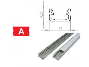 Hliníkový profil LUMINES A 1m pro LED pásky, stříbrný eloxovaný