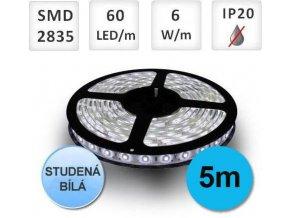 PremiumLED LED pásek 5m, 60ks, 2835, 6W/m, Studená