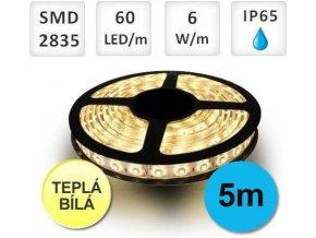 PremiumLED LED pásek 5m, 60ks, 2835, 6W/m, Teplá, Voděodolný